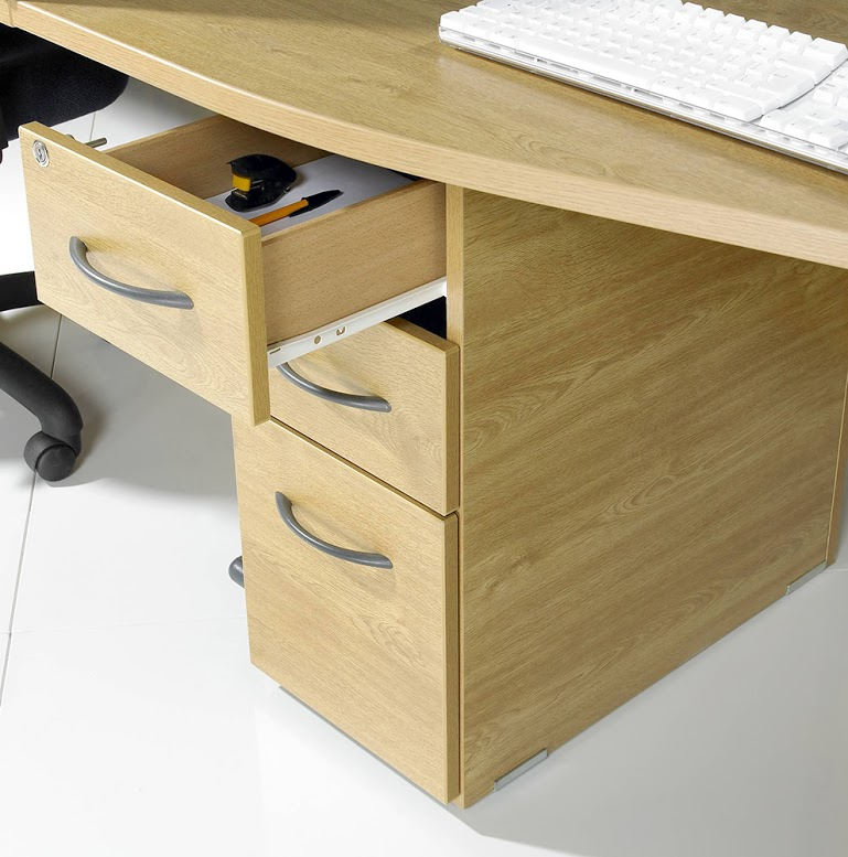 Narrow Underdesk Ped Open Drawer