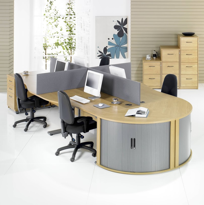 Giorgio Wave Desk Cluster with Desk End Tambours