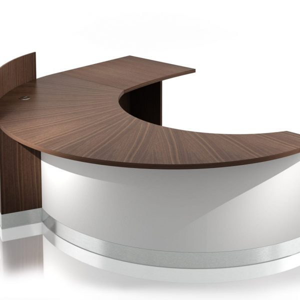 CR0110 – CRESCENT RECEPTION DESK standard & return w-screen – View 1A