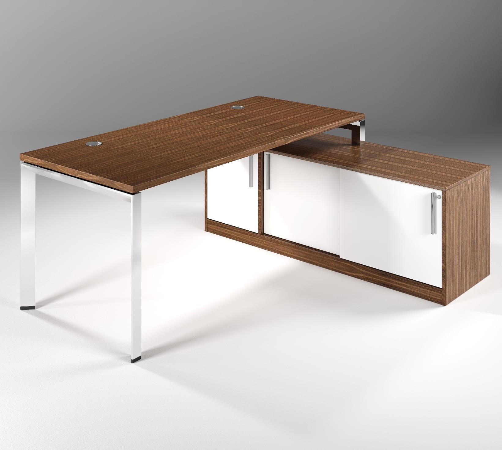 DAVOS CHROME  SLIDING STORAGE  WALNUT  FRONT ...