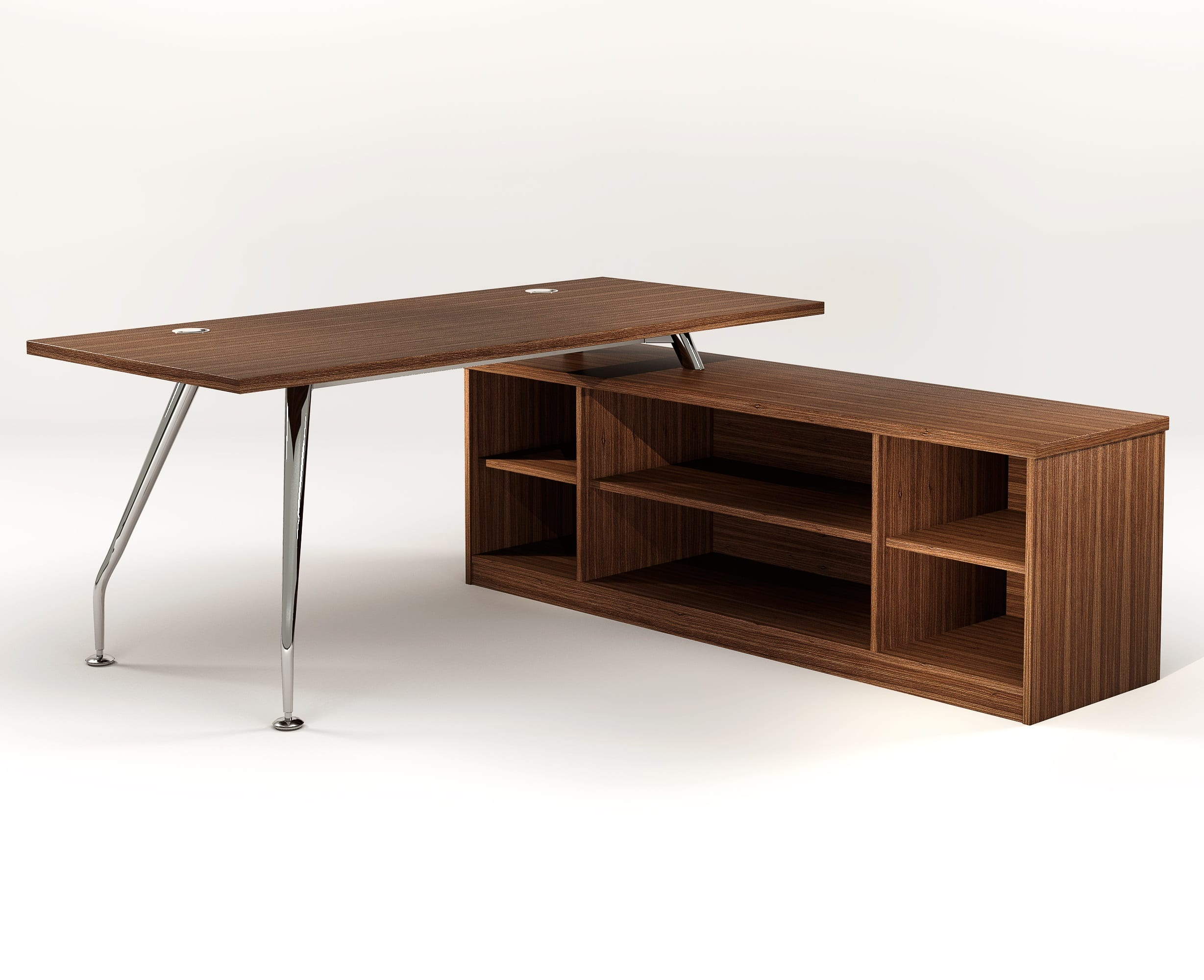 ZENITH 1800 EXEC FLYOVER DESK OPEN FRONTED – WALNUT 1