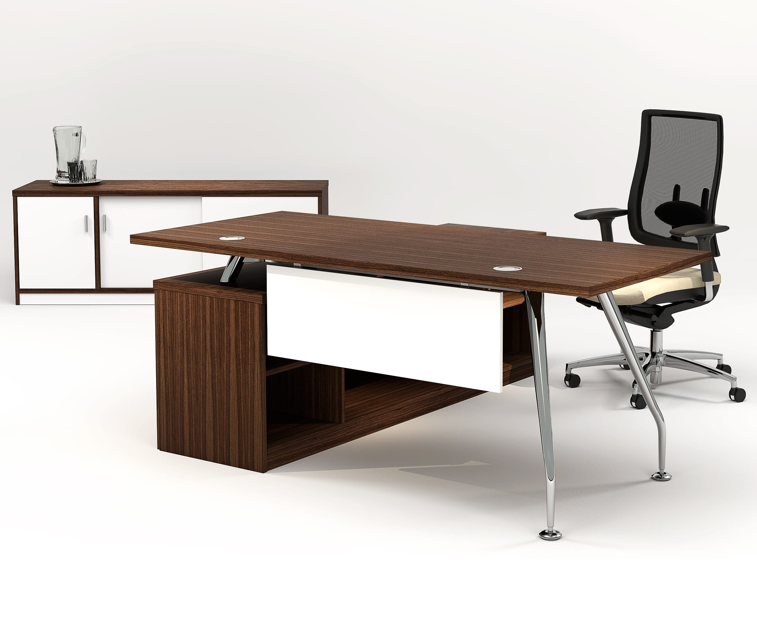ZENITH 1800 EXEC FLYOVER DESK OPEN MODESTY – WALNUT