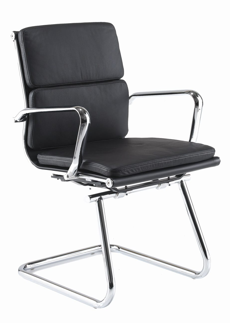 Leather Medium Back Cantilever Armchair Black Cmca