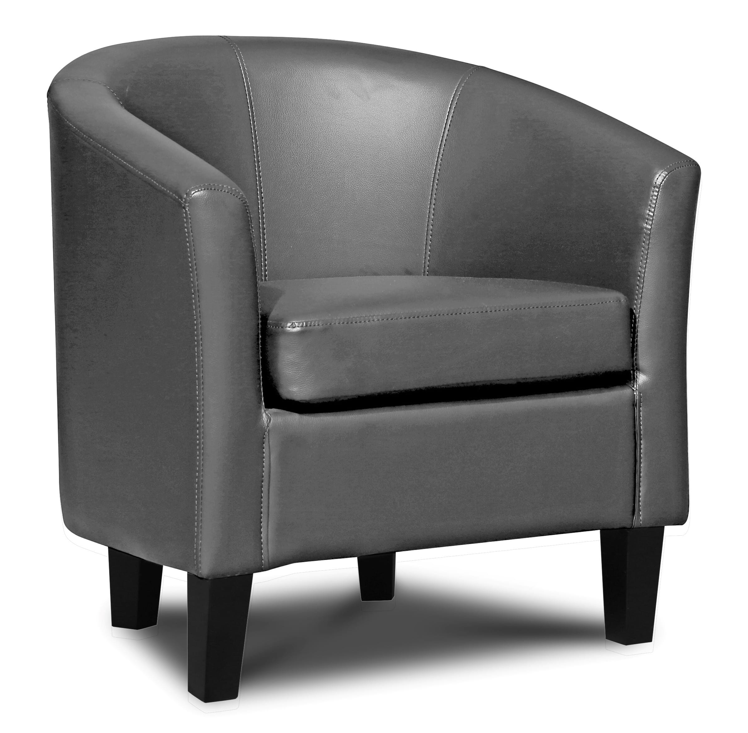 Merveilleux Faux Leather Tub Chair U2013 Grey