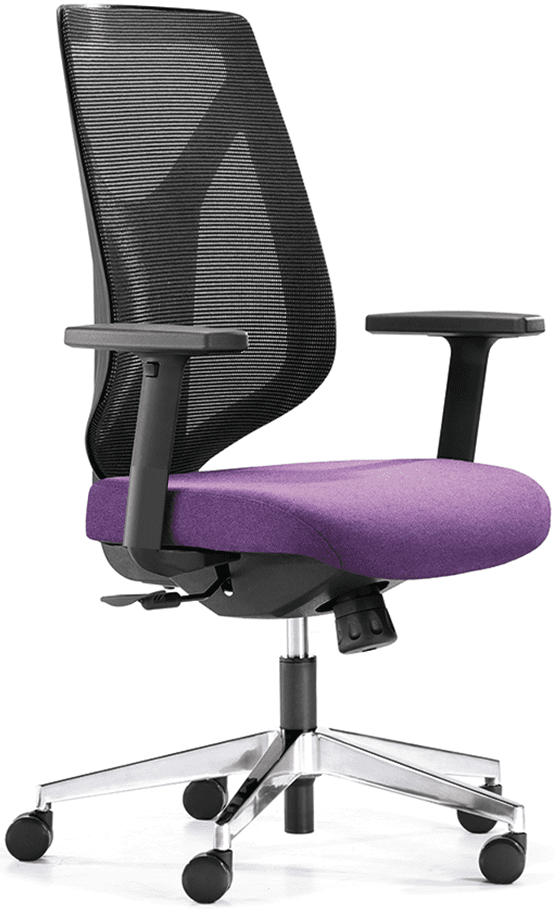 Purple swivel task chair with adjustable mesh backrest