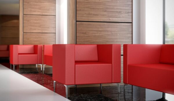 Elite Box reception seating with chrome feet