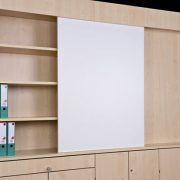 Sliding dry wipe board + shelving unit 01