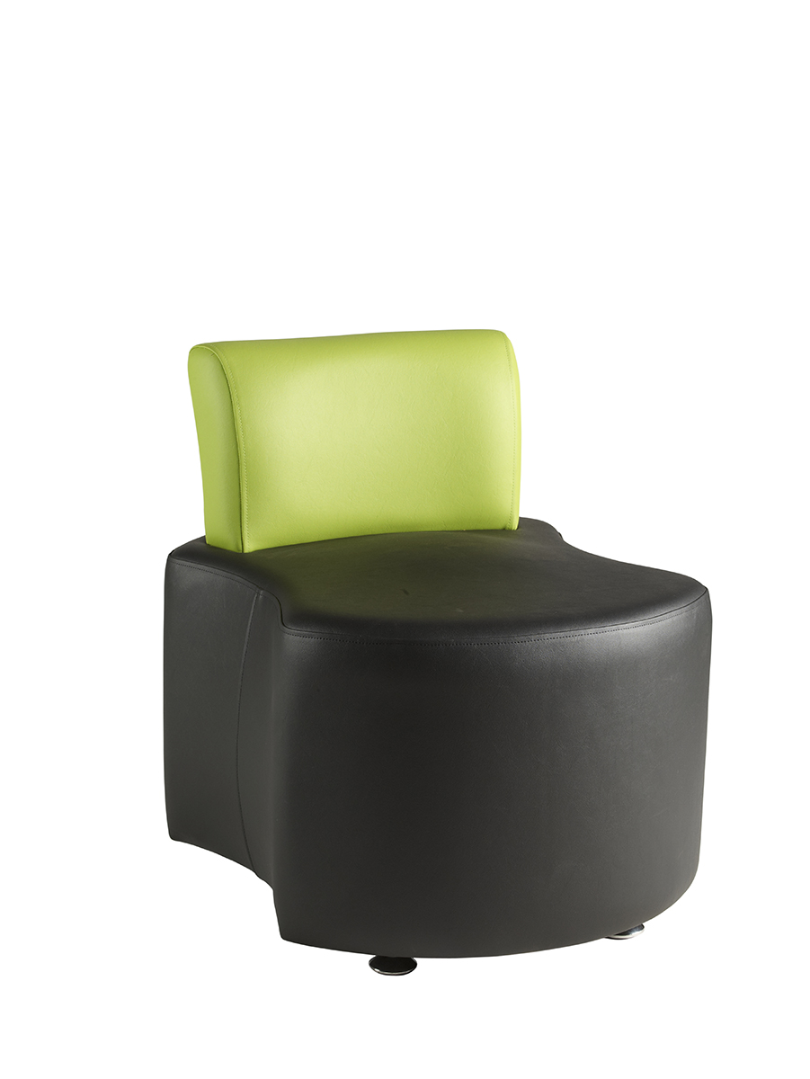 Dogbone black seat with green back reception seating