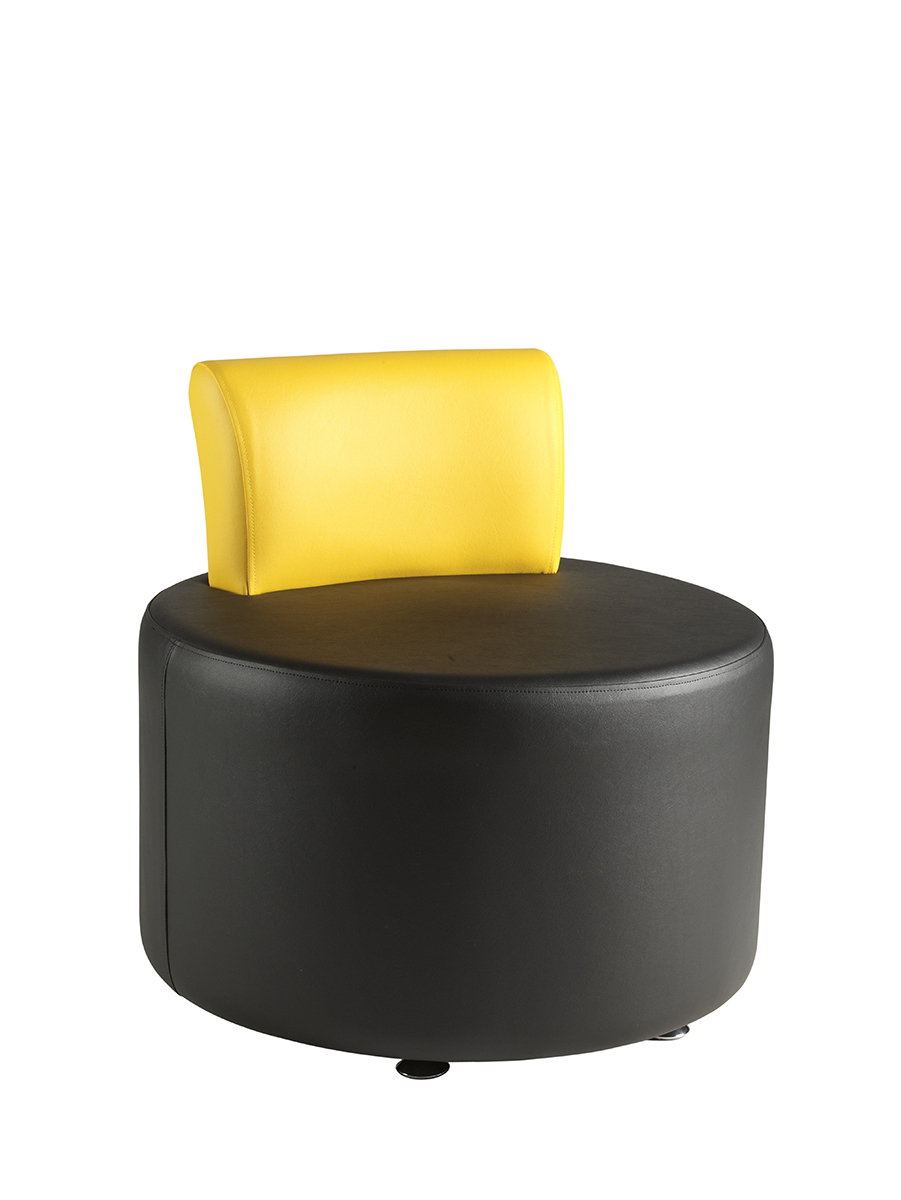 Circular reception seat with low yellow back