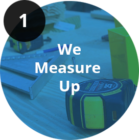 we measure up logo in circle