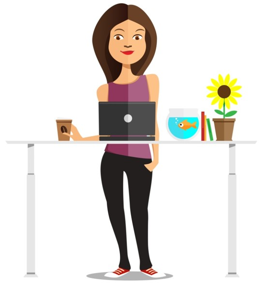illustration of woman standing behind a height adjustable desk