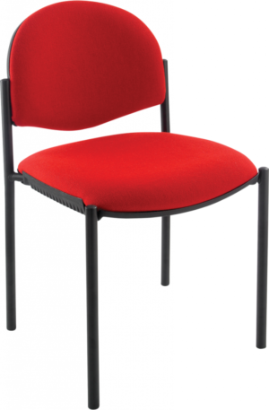 Meeting chair with red seat and black frame