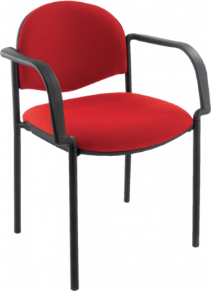 Meeting chair with red seat and black frame with arms