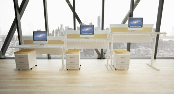 Evolution desk height adjustable roomshot three heights