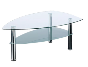 2 tier teardrop glass coffee table