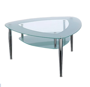 2 tier triangular coffee table with chrome legs