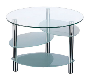 4 tier circular coffee table with chrome legs