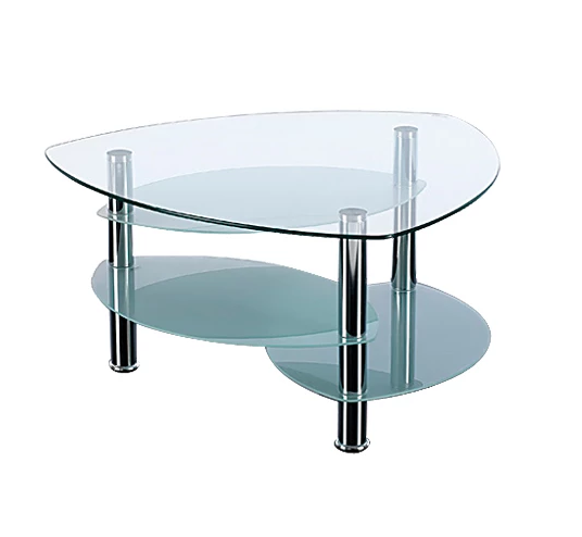 4 tier triangular glass coffee table with chrome legs