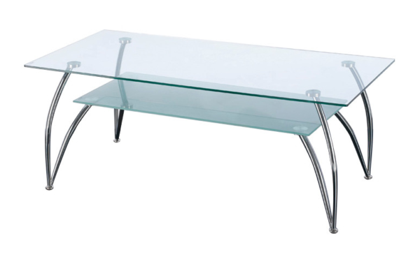 2 tier glass rectangular coffee table with chrome legs
