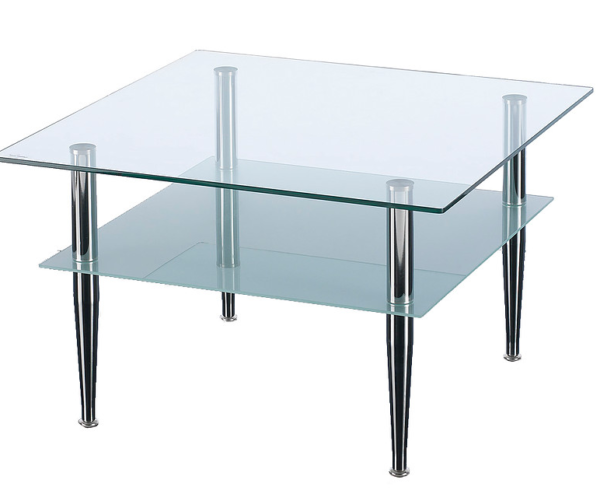 2 Tier square glass table with chrome legs