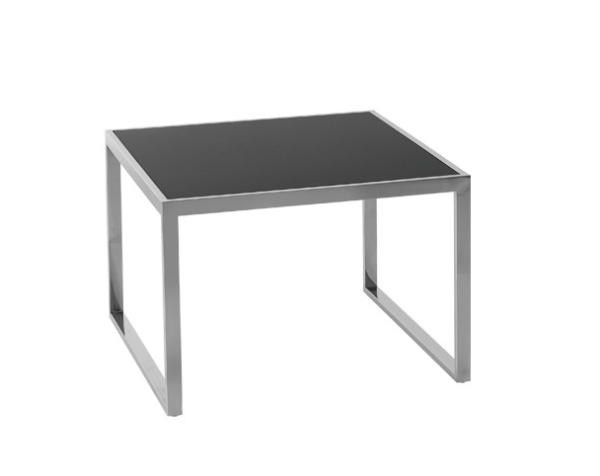 Black Glass square hoop leg coffee table
