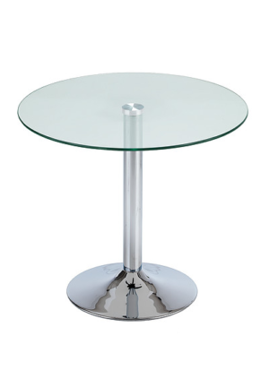 Glass top coffee table with trumpet base