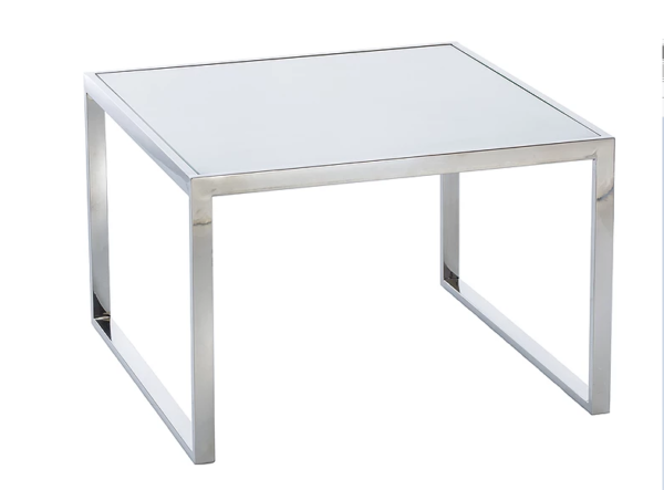 Square glass hoop leg table