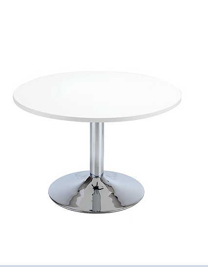 Round coffee table with white top and chrome trumpet base