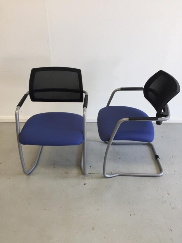 Blue seat black mesh back cantilever meeting chairs