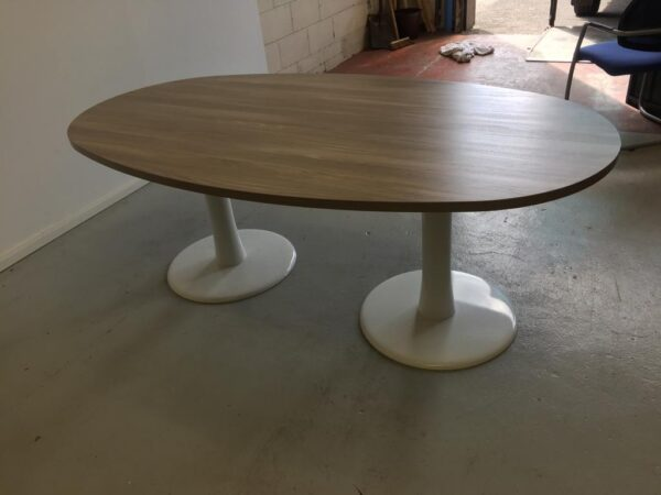 Ash oval meeting table white trumpet base