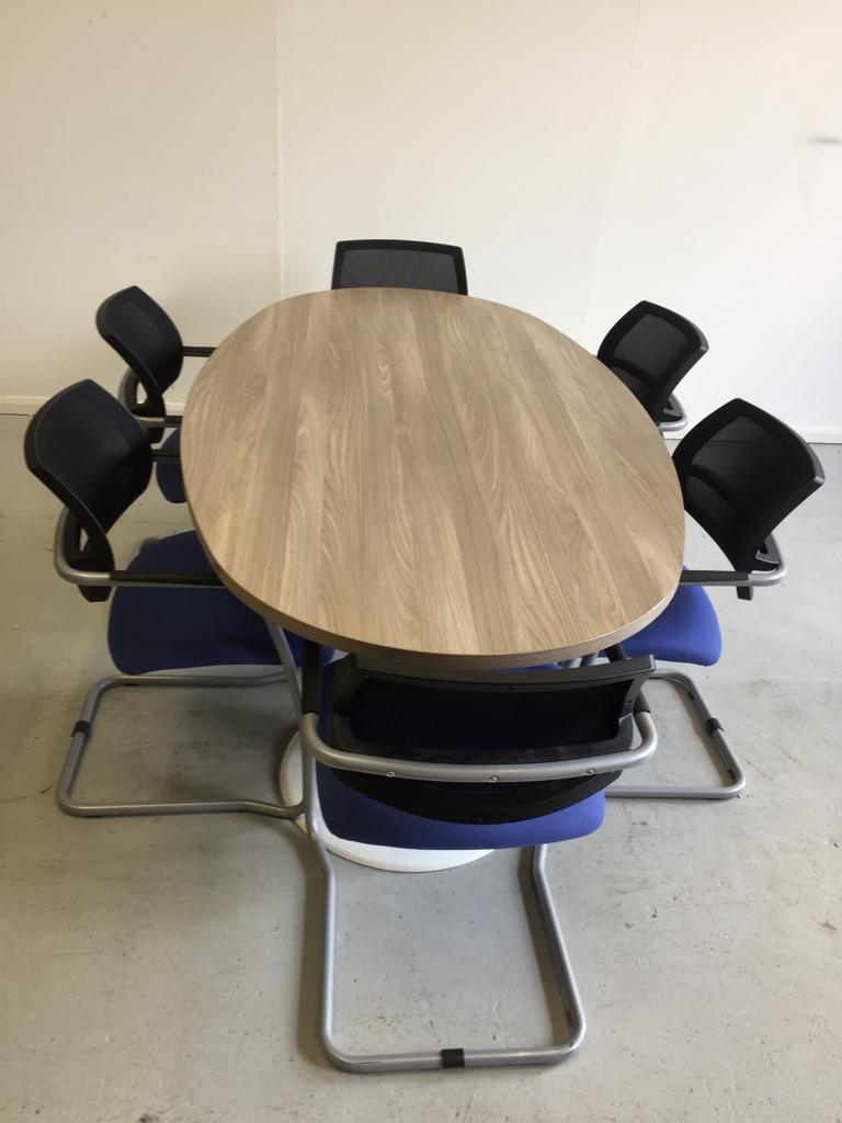 Ash oval meeting table white trumpet base and meeting chairs