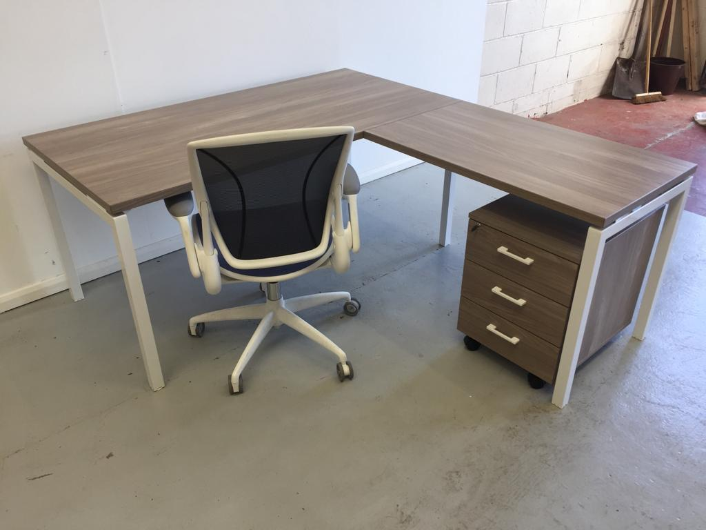Ash straight desk with return and mobile pedestal and chair