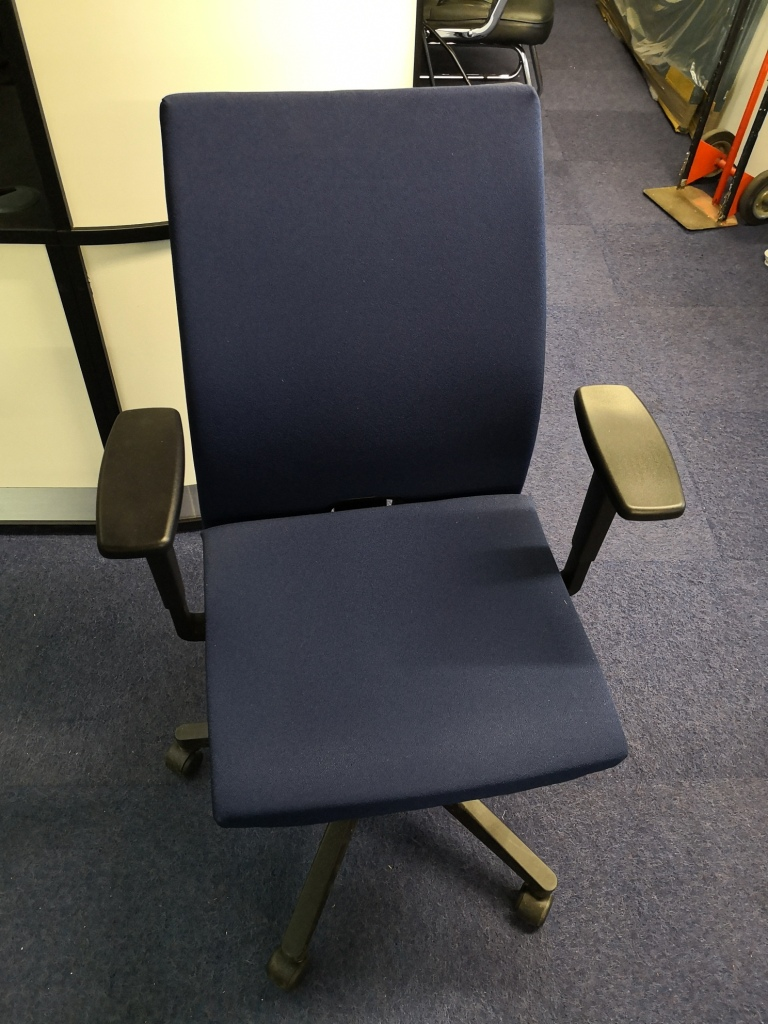 Hayworth blue operator chair- front view