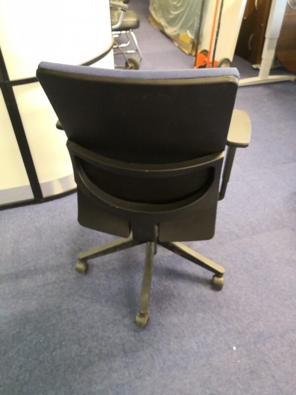 Hayworth blue operator chair- back view