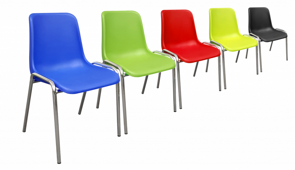 line of polyprop canteen chairs multicolours