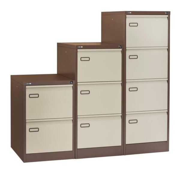 2, 3 and 4 drawer coffee and cream filing cabinets