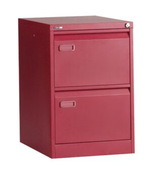 2 drawer red filing cabinet