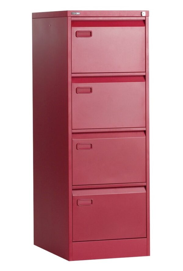 4 drawer red filing cabinet