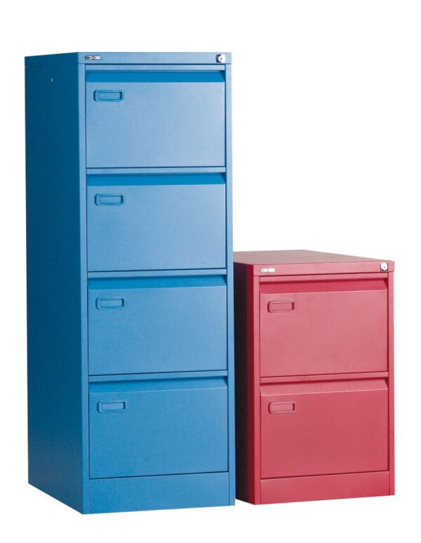 2 drawer red filing cabinet and 4 drawer blue filing cabinet