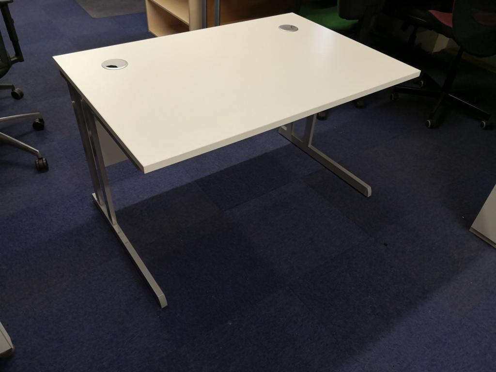 white 1200 straight desk with silver cantilever legs