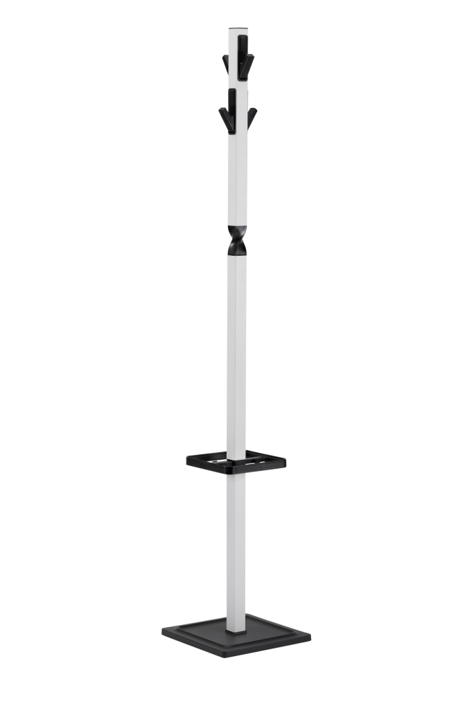 white and black coatrack