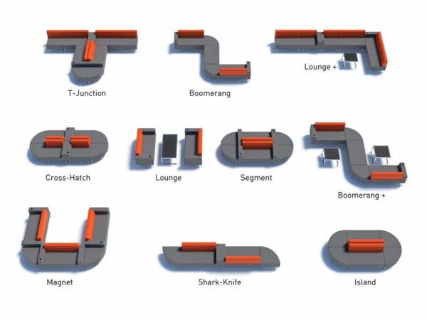 mosaic reception seating configurations