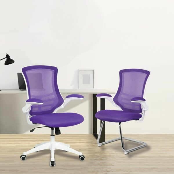 Apollo operator chair and cantilever meeting chair - purple and white