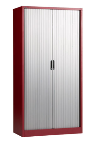 Tambour cupboard silver door red carcass