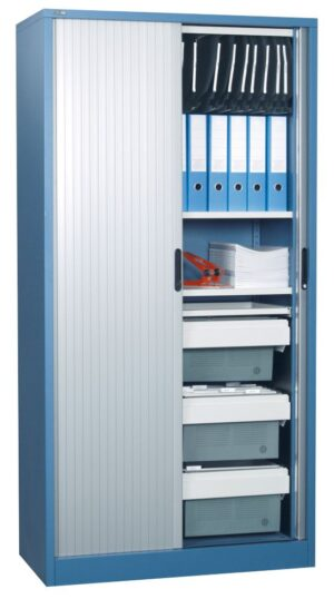 Tambour cupboard silver door blue carcass