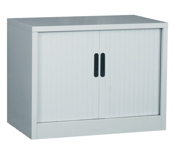 Tambour cupboard desk high grey
