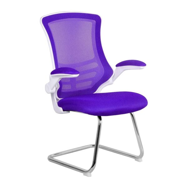 Purple and white mesh cantilever meeting chair