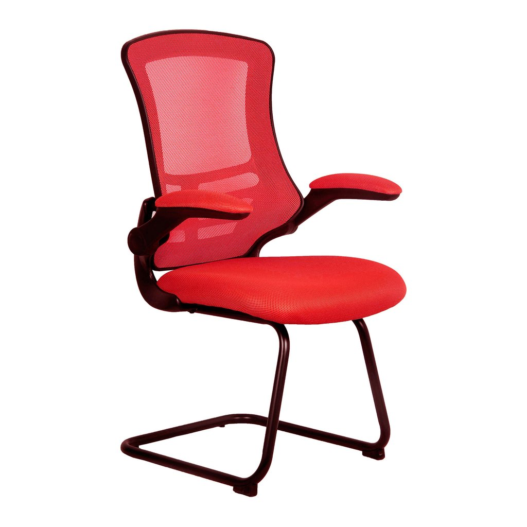 Red mesh black frame cantilever meeting chair