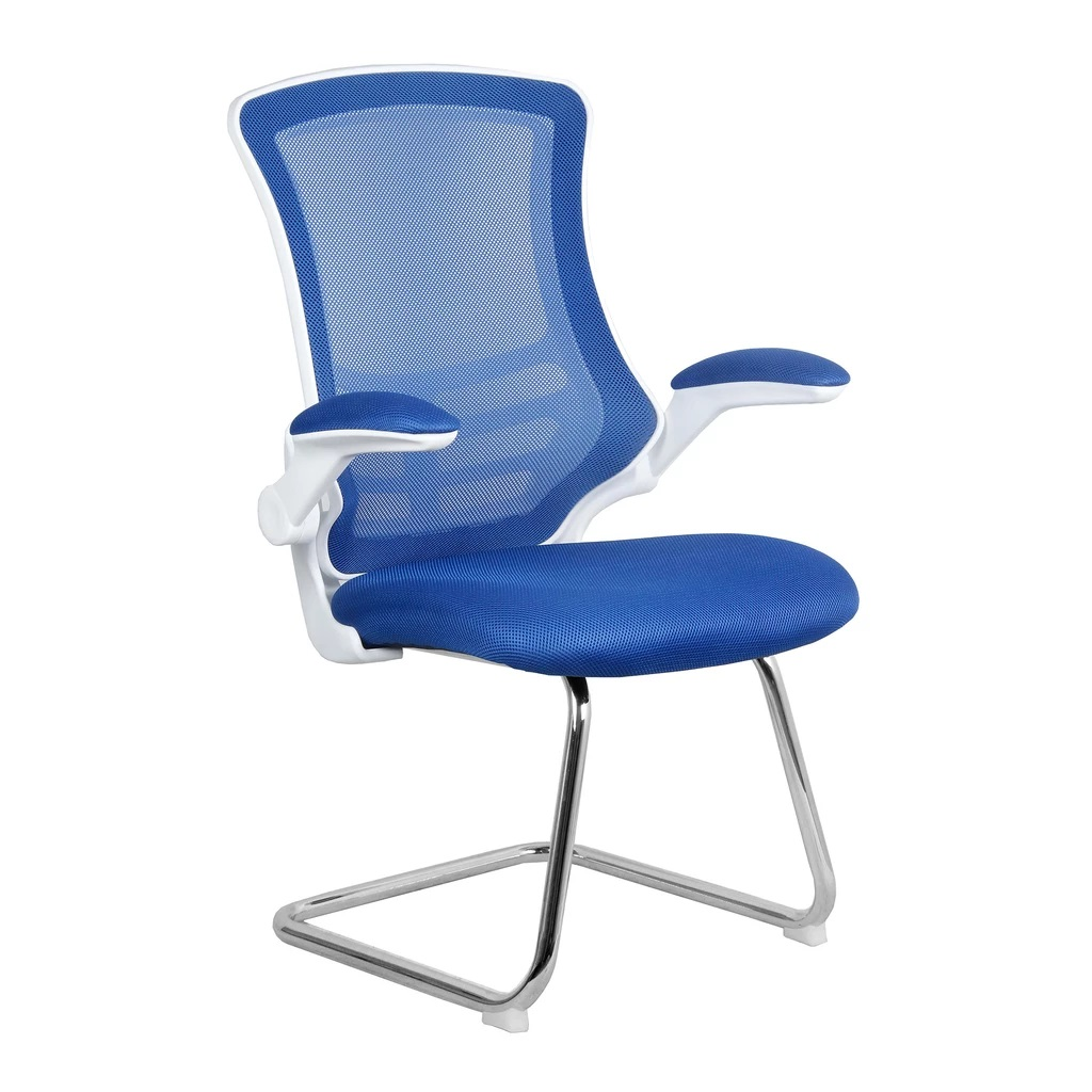 Blue and white mesh cantilever chair