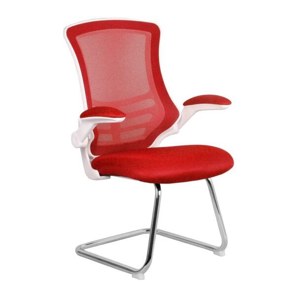 Red and white cantilever mesh meeting chair